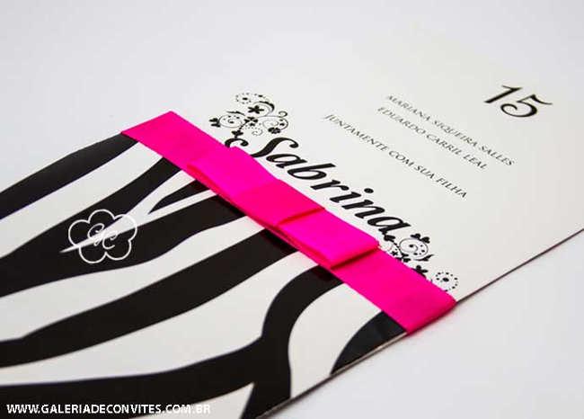 convite 15 anos preto e rosa