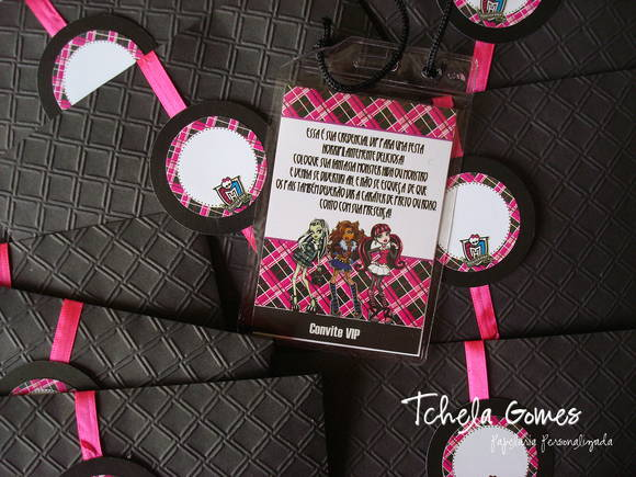 Convite Credencial Monster High